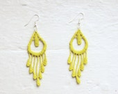 Neon Yellow Feather Lace Earrings - Miu