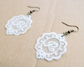 Personalized Initial Earrings in Lace - Your Choice of Color and Letter - Personalized Monogram Jewelry Letter Jewelry