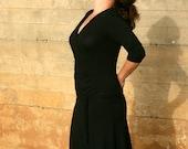 Maternity wrap dress in black. Maternity dress. Custom dress