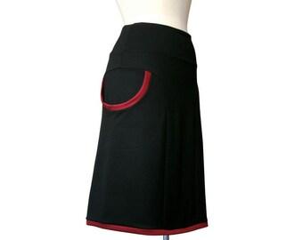 Plus Size Skirt, Womens Clothing, Black Skirt With Pockets, Aline Pocket Skirt