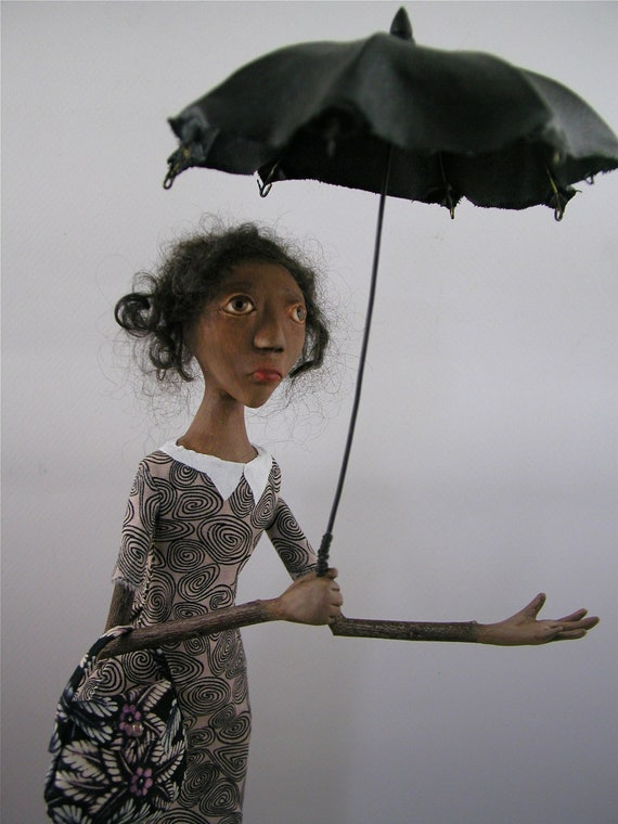 RESERVED for Kimberly - Contemporary Folk Art Doll Sculpture cloth and clay woman with umbrella standing on wood base