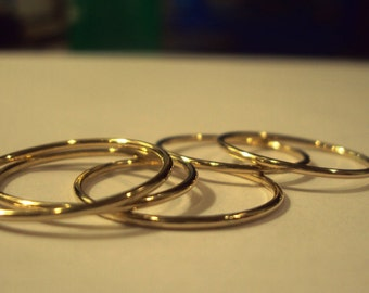 Gold Stacking rings, smooth stackers, rose gold rings, stackable rings, handcrafted in your choice of color and size