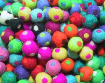 Handmade Felted Wool Balls/Beads - POLKA DOT mix - 2 cm