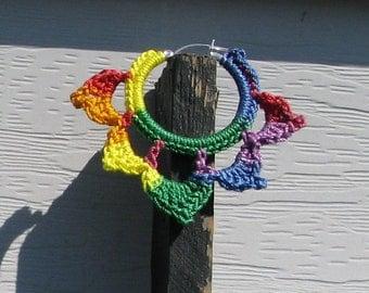 Sterling Silver Plated Crochet Hoop Earrings