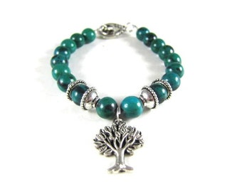 Natural Green Azurite Spiritual Beaded Bracelet with Tree of Life-Protection
