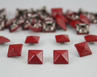 100 pcs. Red Pyramid Rivets Studs Punk Rock Decoration Findings  8 mm. CKRP852