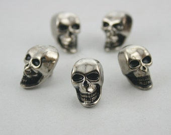 5 pcs.Zinc Silver Skull Smile rivets Studs Decoration Findings 10 mm. DHRSKN1016