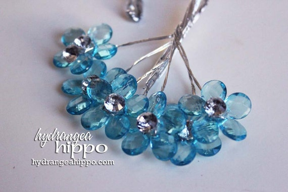Small Blue Bling 5 Petal Flowers - 12 pieces