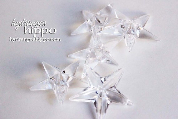 Crystal Clear - 1 inch - Faceted Star Beads - 10 pieces