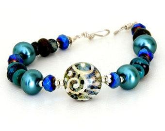 Midnight Blue Lampwork Glass Bead Bracelet. Teal Statement Bracelet. Ethnic Tribal Jewelry. Handmade Scroll Bead.