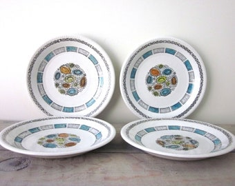 Kathie Winkle Handpainted Ironstone Plates Set of Four
