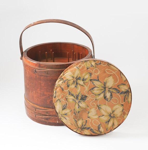Primitive Bentwood Sewing Bucket Basket - Round Wooden Firkin Barrel with Lid & Handle