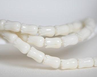 White coral tulip beads 6x9mm  -(SH09-1) / Full strand