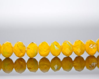 Lampwork  Faceted Rondelle Glass Beads  6x8mm  Yellow -(LL11-3)/ Full strand