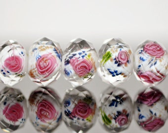 43Pcs  Lampwork Flower Glass Beads Faceted Rondelle Pink White 9x12mm  -(LL03-1)