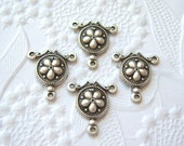 4 -Antique  silver plated 3 ring flower connector stampings - LP168