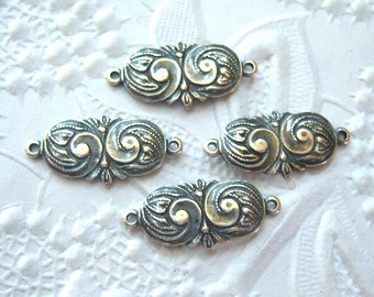 4 -Antique silver swirl connectors - GB136
