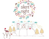 Silent Night Clipart for personal and commercial use - Christmas Holiday Clip art by Reani on Etsy