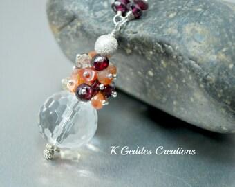 Crystal Quartz Pendant Necklace Sunstone Garnet Lemon Quartz Cluster Sterling Silver Chain Necklace Multi Gemstone Necklace SALE