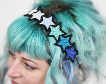 SALE - Blue Gradient Stars Headband,  Blue, Turquoise, Silver, White - Christmas In July CIJ
