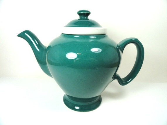 Rare Hall McCormick Infuser Style Turquoise Green Teapot, Glazed Bottom, 1930's