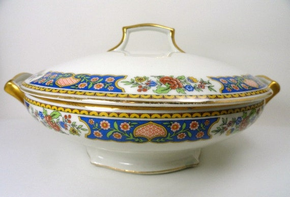 T & V LIMOGES French La Cloche China Covered Round Vegetable Dish, Casserole Dish, Antique Dishes, Vintage Dishes