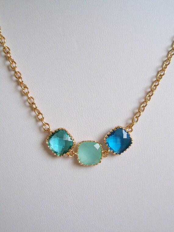 OLIVIA - Gold Wrapped - Sea Green Iced Aqua and Capri Blue Czech Glass - Color Block Necklace