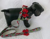 Black Checkered Cherries Leash and Harness  Dog set with removeable bows