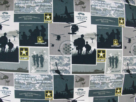 Army United States   Fabric  Print  Cotton Fabric   1/2 Yard