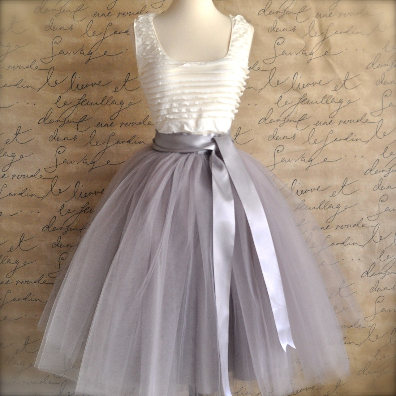 Grey tulle skirt for women with silver or ivory satin lining