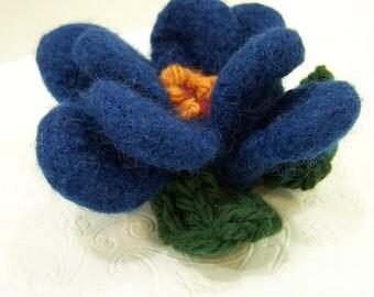 Knit Felted Wool Flower Brooch, Felted Wool Flower Pin Blue, Knit Felted Flower, Boiled Wool Flower, Hand Knit Flower Brooch, Blue Flower