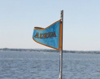 Nautical Flag Banner with Your Boat Name 12x18 inch