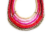 Statement Ombre Necklace in Pink and Red, Maasai Tribal Inspired Neon Ombre Handmade Necklace