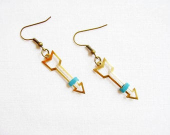 Gold Arrow Earrings, Open Arrowhead Dangle Earrings, Raw Brass Earrings