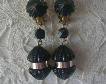 Vintage German Black and Gold Tone Clip Back Drop Earrings