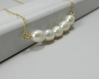 Pearl Bridal Necklace, Pearl Bar Necklace, Bride, Bridesmaid, Wedding, Gold Filled, Simple, Dainty, Classic, Trapeze Necklace