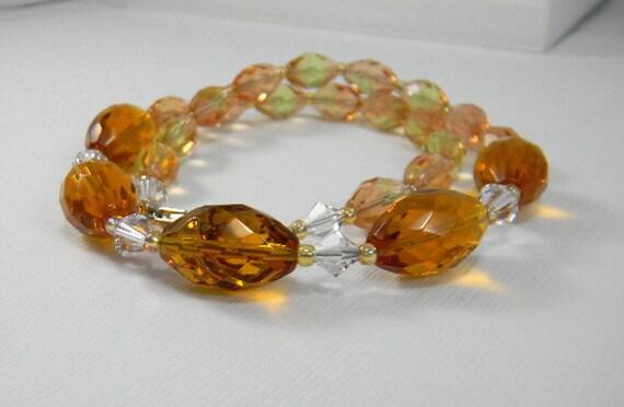 Amber Crystal necklace Wedding Bride Bridal Bridesmaid Sparkly necklace Honey
