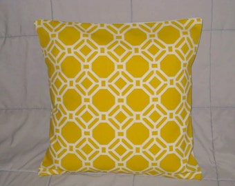 Pillow Cover. Yellow. White. Geometric. 16 x 16. Accent Pillow Covers