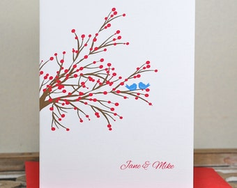Wedding Thank You Cards . Wedding Thank You Sets. Bridal Shower Thank You Cards. - Winter Berry Love Birds