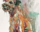 Border Terrier border Watercolor dog print SIGNED by the Artist Carol Ratafia DOUBLE MATTED To 16x20