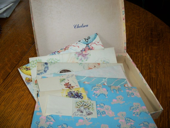 Box of Vintage Wrapping Paper and Gift Cards