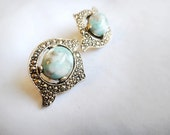 Remembrance Clip On Earrings . Sarah Coventry Jewelry . Turquoise Marcasite