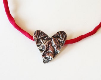 valentines day - silver red heart pendant -  red silk cord- christmas holiday gift for her