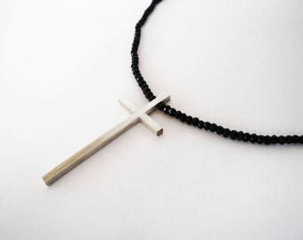 handmade sterling silver cross multifaceted black spinel beads