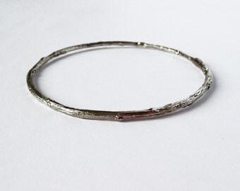 sterling silver twig bangle bracelet - silver branch bangle