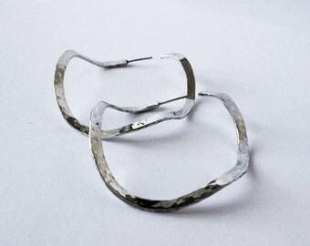 sterling silver hammered medium hoop earrings handmade silver organic earrings medium size