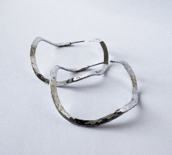 items similar to sterling silver hammered medium hoop