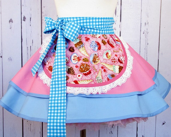 Sweet Shop Counter Girl Half Apron - in stock