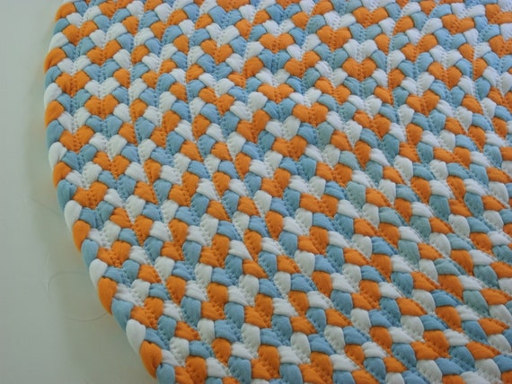 "READY TO SHIP 38"" blue orange and white rug braided from recycled t shirts"