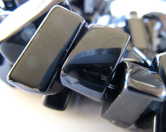 Quartz Beads 20 x 12mm  Jet Black Opaque Quartz Smooth Free Form Shards - 8 Pieces